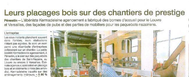 Article de presse sur Kermadeleine à Pénestin - Guérande